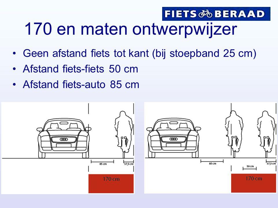 170 en maten ontwerpwijzer Geen afstand fiets tot kant (bij stoepband 25 cm) Afstand fiets-fiets 50 cm Afstand fiets-auto 85 cm