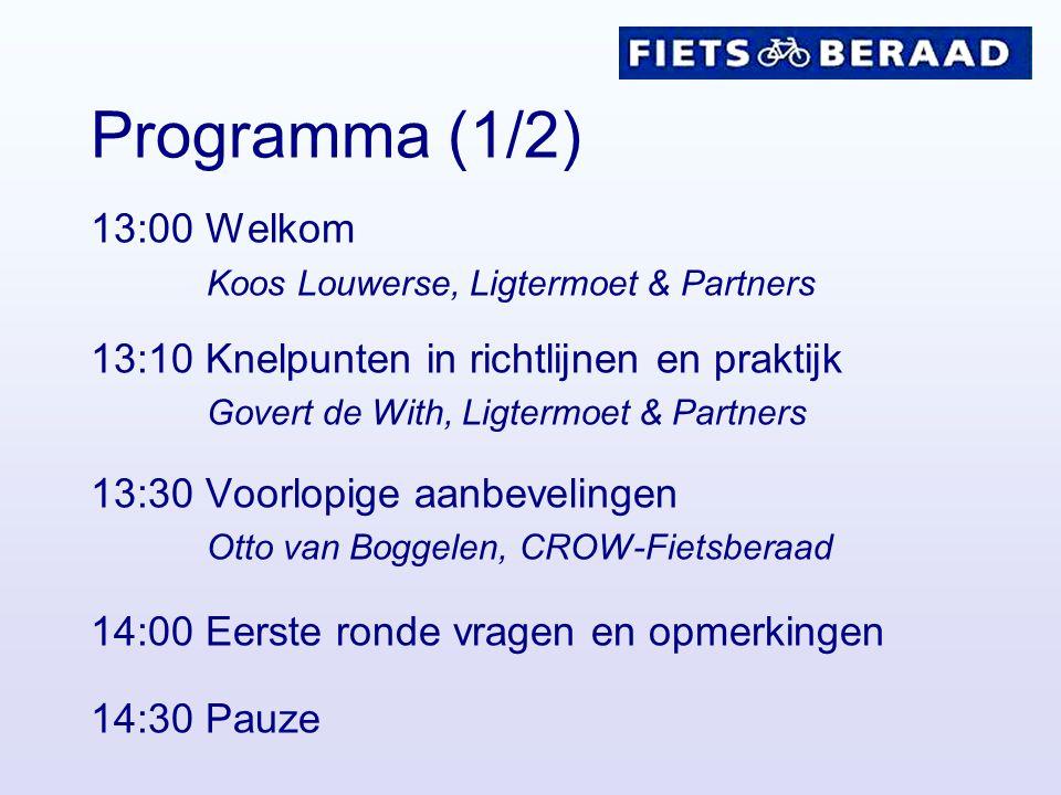 Programma (1/2) 13:00 Welkom Koos Louwerse, Ligtermoet & Partners 13:10 Knelpunten in richtlijnen en praktijk Govert de With, Ligtermoet & Partners 13