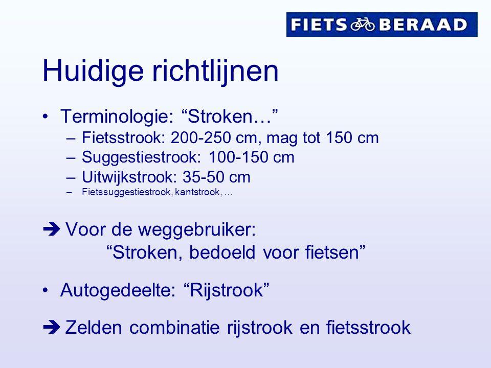 """Huidige richtlijnen Terminologie: """"Stroken…"""" –Fietsstrook: 200-250 cm, mag tot 150 cm –Suggestiestrook: 100-150 cm –Uitwijkstrook: 35-50 cm –Fietssugg"""