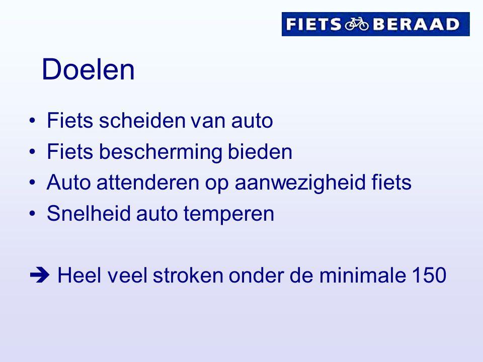 Doelen Fiets scheiden van auto Fiets bescherming bieden Auto attenderen op aanwezigheid fiets Snelheid auto temperen  Heel veel stroken onder de mini
