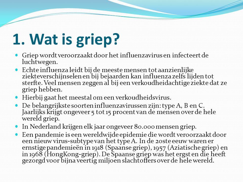 1. Wat is griep? Griep wordt veroorzaakt door het influenzavirus en infecteert de luchtwegen. Echte influenza leidt bij de meeste mensen tot aanzienli