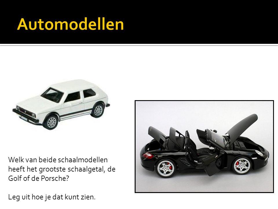 Welk van beide schaalmodellen heeft het grootste schaalgetal, de Golf of de Porsche? Leg uit hoe je dat kunt zien.