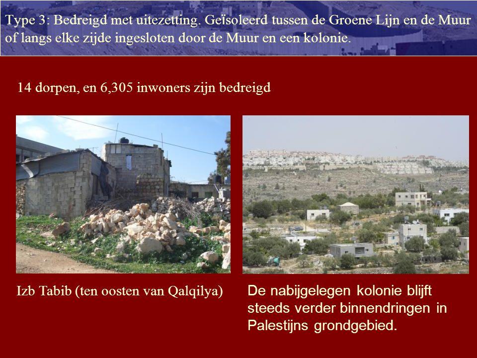 Palestijnen geïsoleerd door de muur VN juli 2008 35.000 Palestijnen uit de Westbank, 35 dorpen, tussen de Muur en de Groene Lijn 250.000 Palestijnen uit Jeruzalem tussen de Muur en de Groene Lijn 125.000 Palestijnen aan drie zijden omsingeld door de Muur; 28 dorpen 26.000 Palestijnen of 8 dorpen volledig omsingeld zijn door de Muur (8 dorpen) Lengte: 723 km = meer dan twee keer de lengte van de Groene Lijn 9,8% van Palestijns gebied tussen de Muur en de Groene Lijn 87% van de Muur ligt niet op de grens, maar in Palestijns gebied
