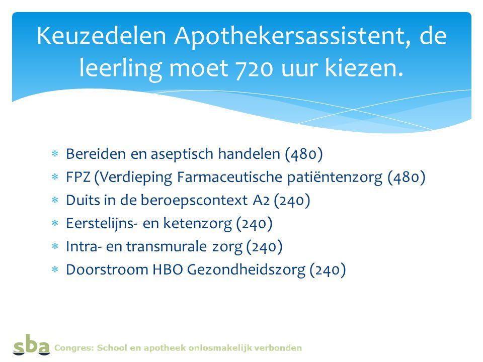  Bereiden en aseptisch handelen (480)  FPZ (Verdieping Farmaceutische patiëntenzorg (480)  Duits in de beroepscontext A2 (240)  Eerstelijns- en ketenzorg (240)  Intra- en transmurale zorg (240)  Doorstroom HBO Gezondheidszorg (240) Keuzedelen Apothekersassistent, de leerling moet 720 uur kiezen.