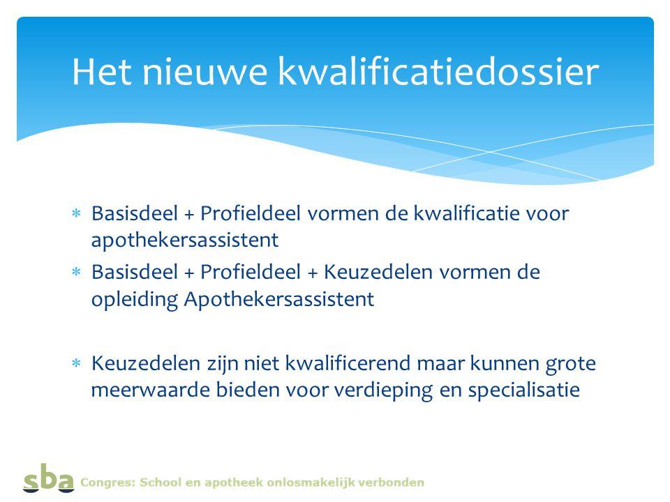  Basisdeel + Profieldeel vormen de kwalificatie voor apothekersassistent  Basisdeel + Profieldeel + Keuzedelen vormen de opleiding Apothekersassiste