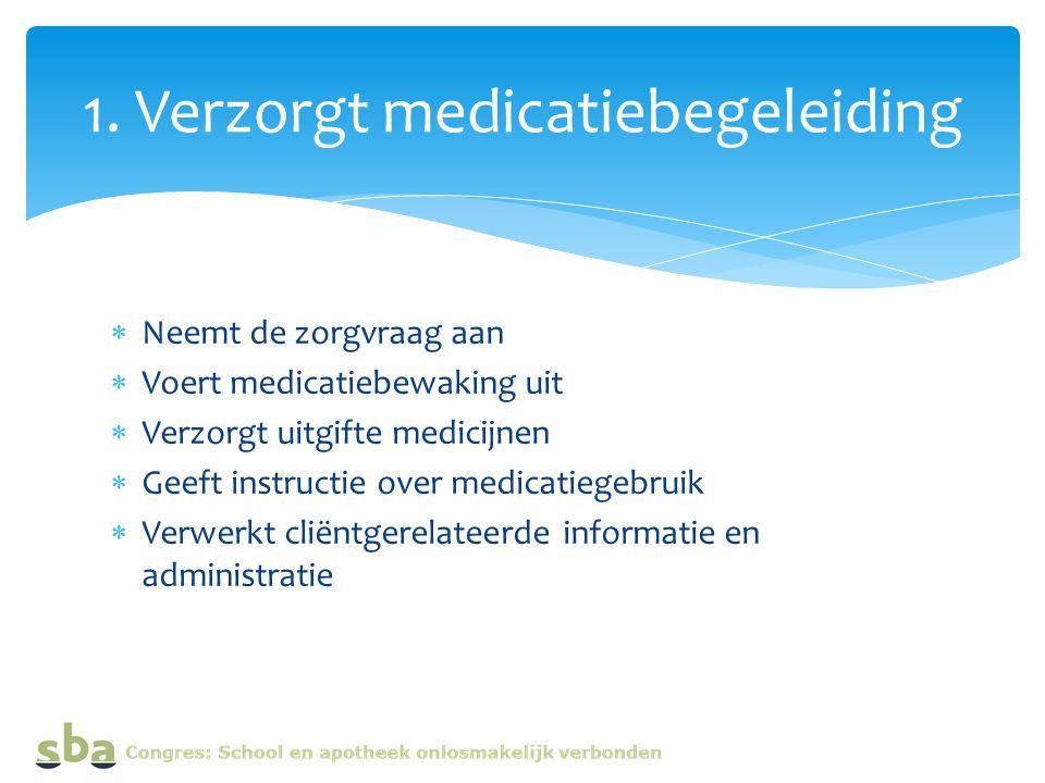  Neemt de zorgvraag aan  Voert medicatiebewaking uit  Verzorgt uitgifte medicijnen  Geeft instructie over medicatiegebruik  Verwerkt cliëntgerelateerde informatie en administratie 1.