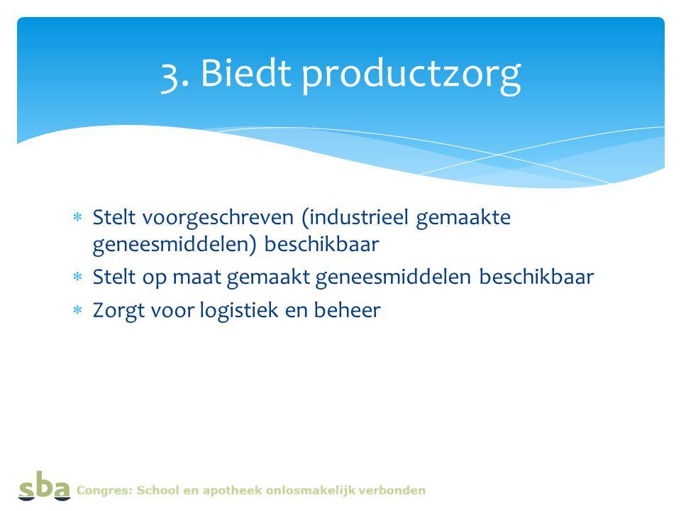  Stelt voorgeschreven (industrieel gemaakte geneesmiddelen) beschikbaar  Stelt op maat gemaakt geneesmiddelen beschikbaar  Zorgt voor logistiek en