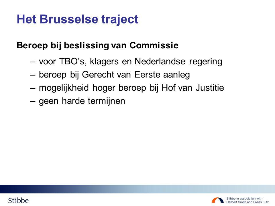 Het Brusselse traject Beroep bij beslissing van Commissie –voor TBO's, klagers en Nederlandse regering –beroep bij Gerecht van Eerste aanleg –mogelijkheid hoger beroep bij Hof van Justitie –geen harde termijnen
