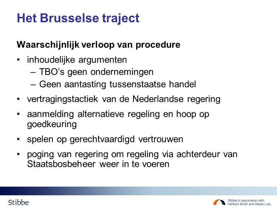 Het Brusselse traject Waarschijnlijk verloop van procedure inhoudelijke argumenten –TBO's geen ondernemingen –Geen aantasting tussenstaatse handel ver