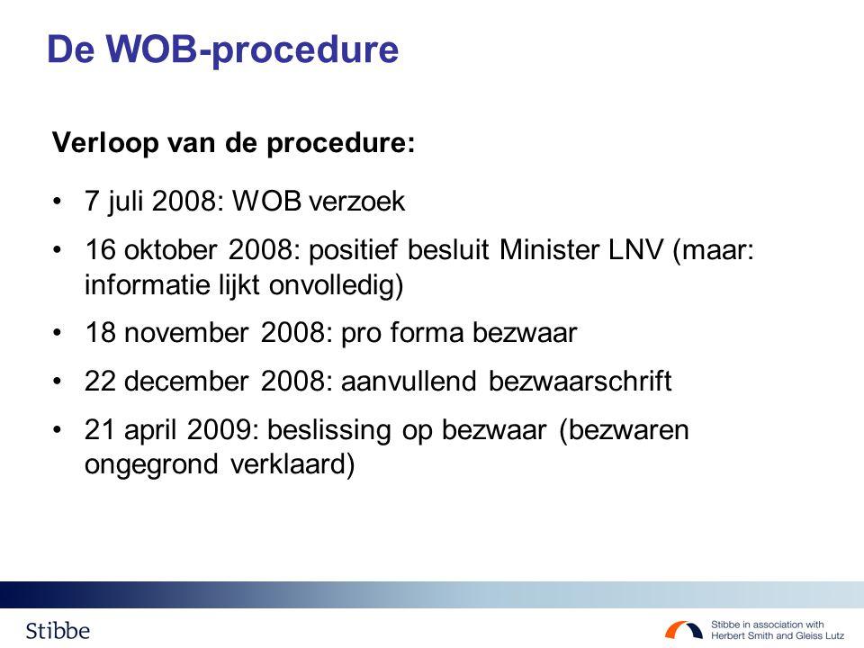 De WOB-procedure Verloop van de procedure: 7 juli 2008: WOB verzoek 16 oktober 2008: positief besluit Minister LNV (maar: informatie lijkt onvolledig) 18 november 2008: pro forma bezwaar 22 december 2008: aanvullend bezwaarschrift 21 april 2009: beslissing op bezwaar (bezwaren ongegrond verklaard)