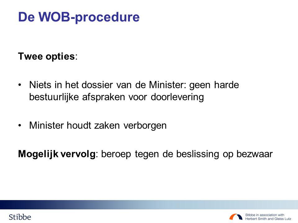 De WOB-procedure Twee opties: Niets in het dossier van de Minister: geen harde bestuurlijke afspraken voor doorlevering Minister houdt zaken verborgen Mogelijk vervolg: beroep tegen de beslissing op bezwaar