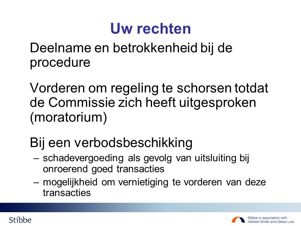 Uw rechten Deelname en betrokkenheid bij de procedure Vorderen om regeling te schorsen totdat de Commissie zich heeft uitgesproken (moratorium) Bij een verbodsbeschikking –schadevergoeding als gevolg van uitsluiting bij onroerend goed transacties –mogelijkheid om vernietiging te vorderen van deze transacties