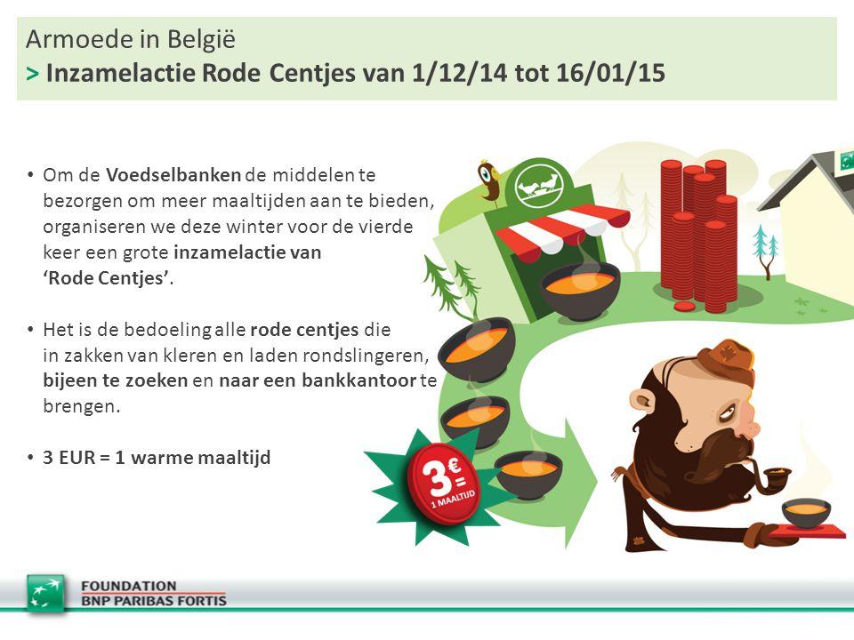Armoede in België > Inzamelactie Rode Centjes van 1/12/14 tot 16/01/15 Om de Voedselbanken de middelen te bezorgen om meer maaltijden aan te bieden, organiseren we deze winter voor de vierde keer een grote inzamelactie van 'Rode Centjes'.