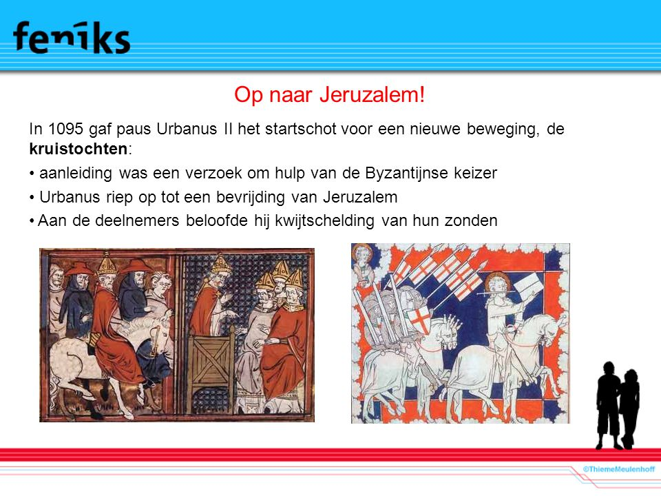 Motieven Seldjoeken veroverden grote delen Klein Azië inclusief Jeruzalem/bedreiging Byzantijnse rijk Pelgrims wilden naar Jeruzalem kunnen Avontuur en mogelijk landbezit Aanzien t.o.v.