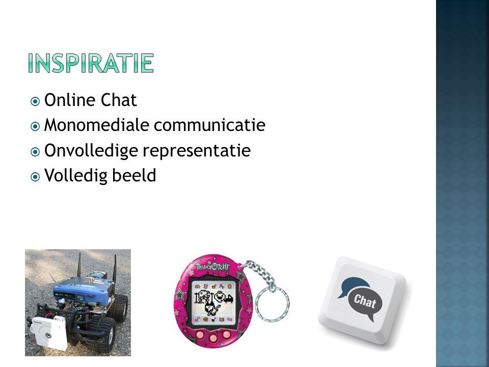  Online Chat  Monomediale communicatie  Onvolledige representatie  Volledig beeld