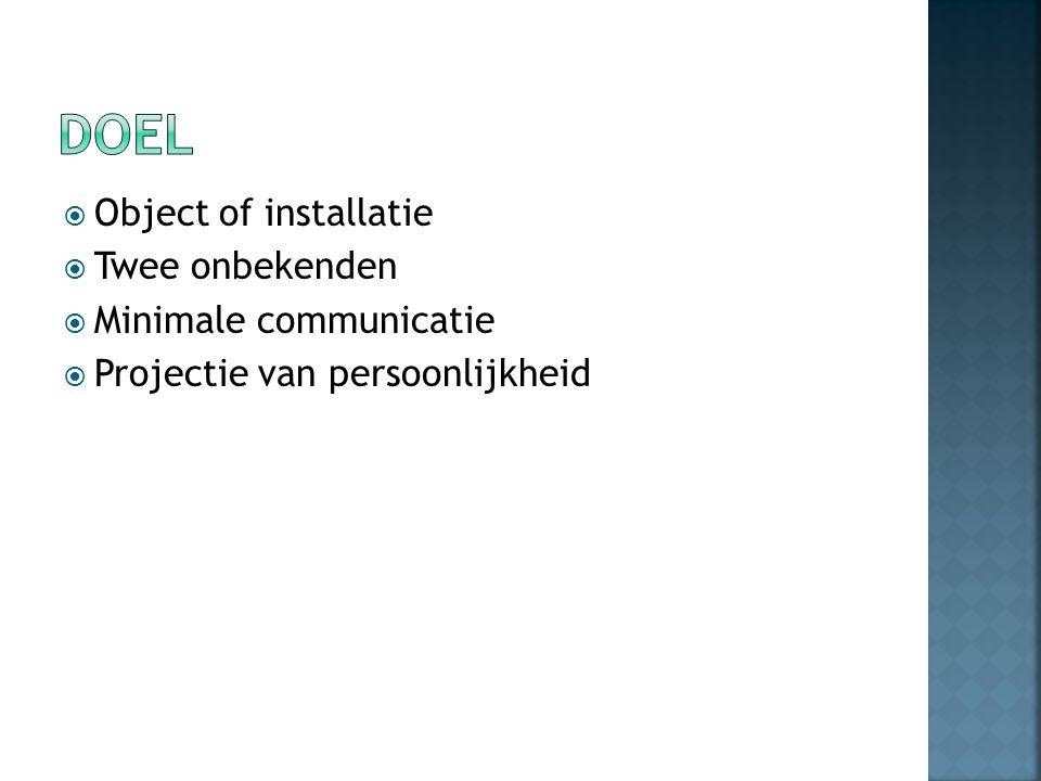  Object of installatie  Twee onbekenden  Minimale communicatie  Projectie van persoonlijkheid