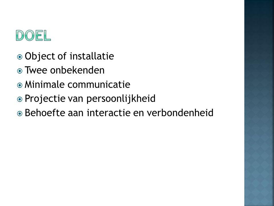  Object of installatie  Twee onbekenden  Minimale communicatie  Projectie van persoonlijkheid  Behoefte aan interactie en verbondenheid