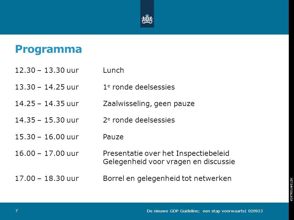 VERTROUWELIJK Programma 12.30 – 13.30 uurLunch 13.30 – 14.25 uur 1 e ronde deelsessies 14.25 – 14.35 uurZaalwisseling, geen pauze 14.35 – 15.30 uur2 e