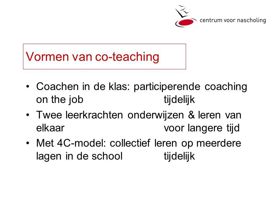 Vormen van co-teaching Coachen in de klas: participerende coaching on the jobtijdelijk Twee leerkrachten onderwijzen & leren van elkaar voor langere tijd Met 4C-model: collectief leren op meerdere lagen in de schooltijdelijk