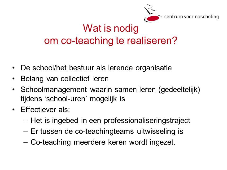 Wat is nodig om co-teaching te realiseren.