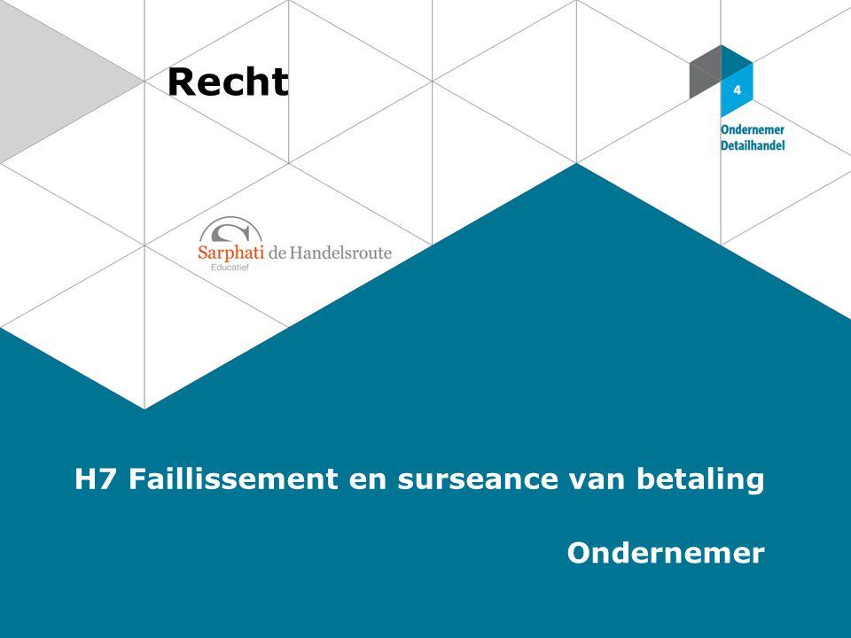 Recht H7 Faillissement en surseance van betaling Ondernemer