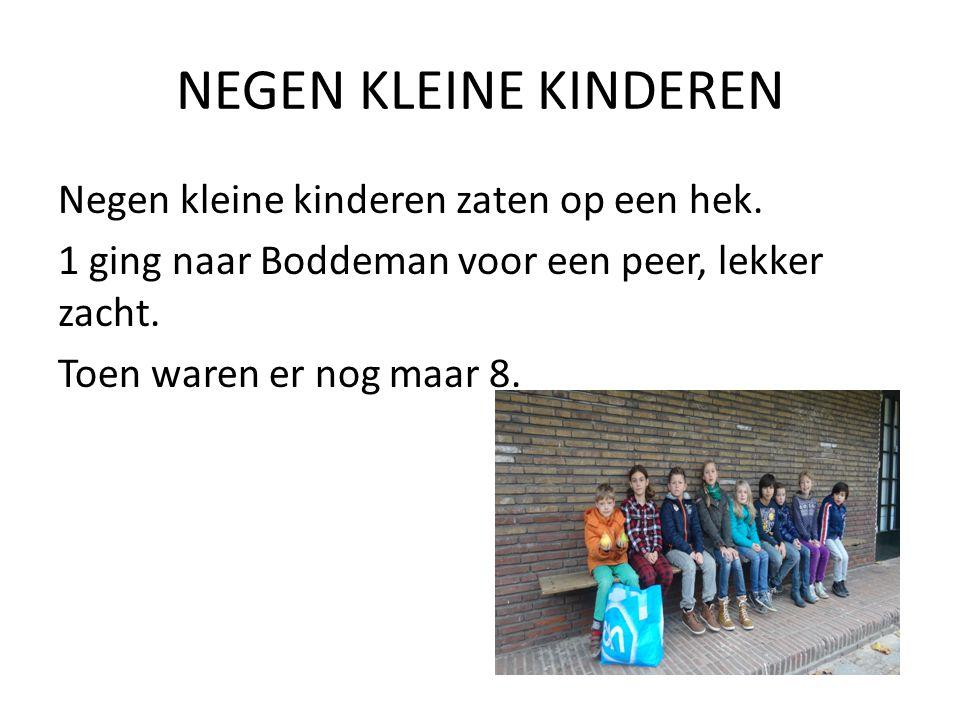 ACHT KLEINE KINDEREN Acht kleine kinderen zaten op een hek.