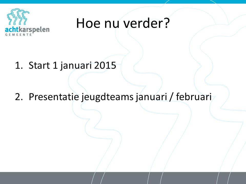 Hoe nu verder? 1.Start 1 januari 2015 2.Presentatie jeugdteams januari / februari