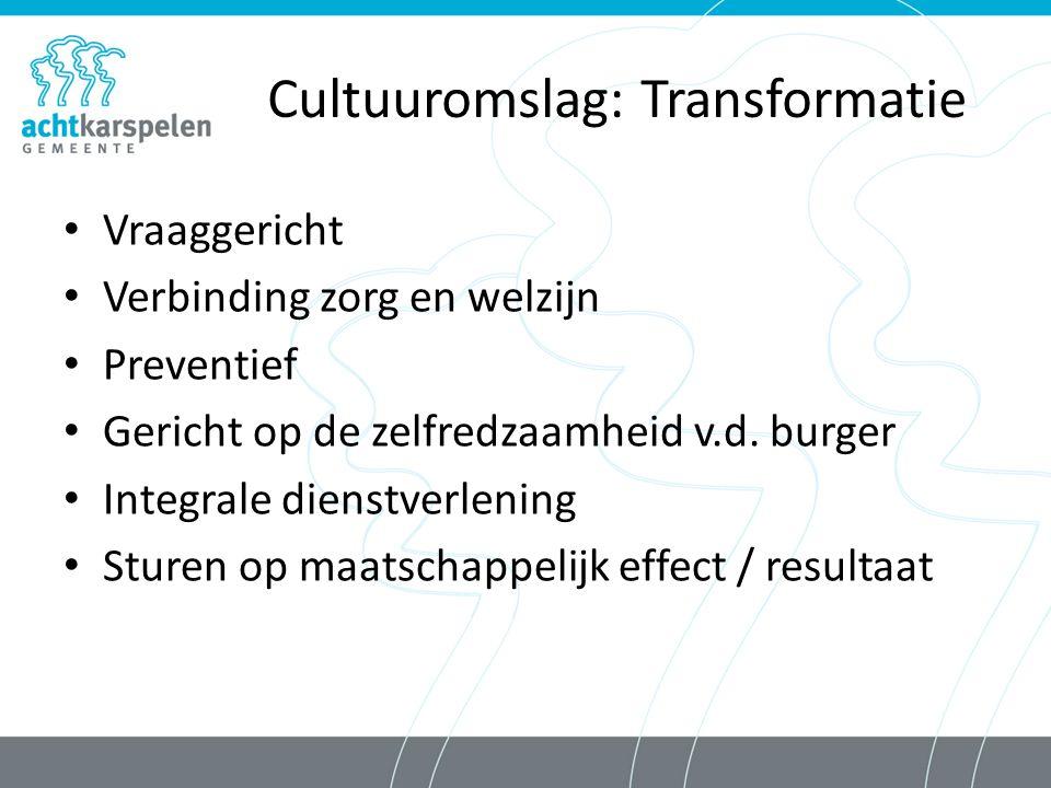 Cultuuromslag: Transformatie Vraaggericht Verbinding zorg en welzijn Preventief Gericht op de zelfredzaamheid v.d.