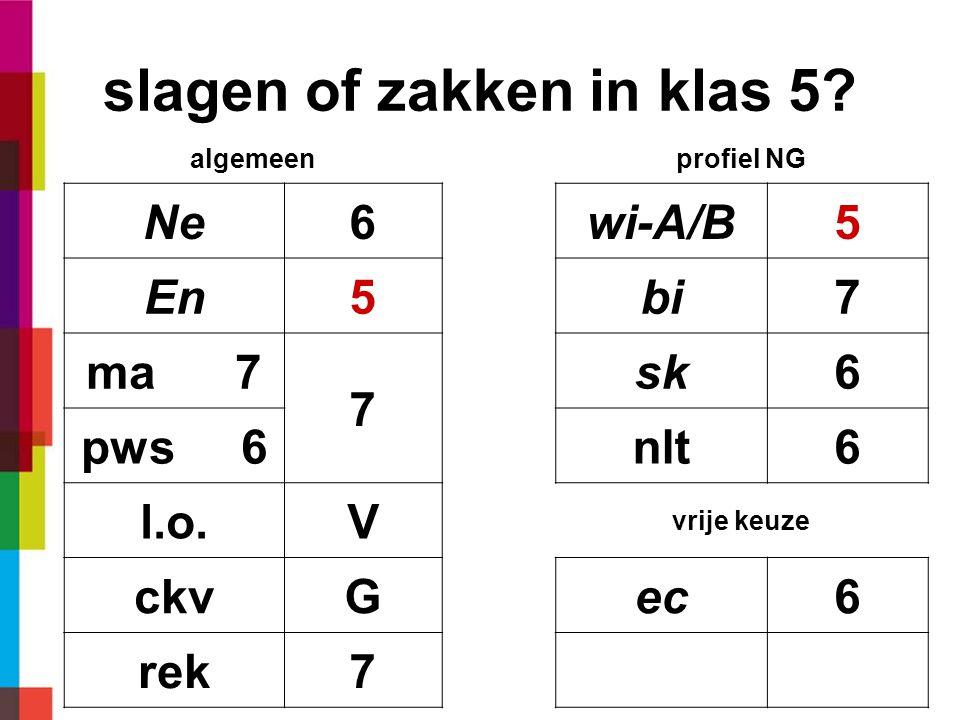 slagen of zakken in klas 5? algemeenprofiel NG Ne6wi-A/B5 En5bi7 ma 7 7 sk6 pws 6nlt6 l.o.V vrije keuze ckvGec6 rek7