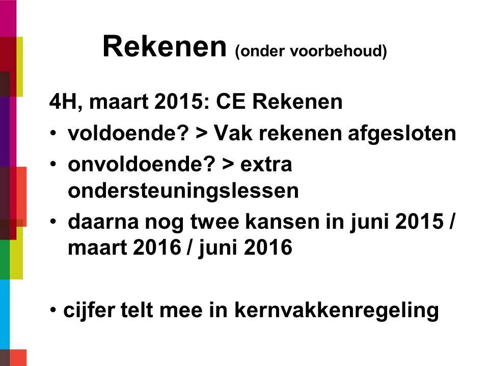 Rekenen (onder voorbehoud) 4H, maart 2015: CE Rekenen voldoende.