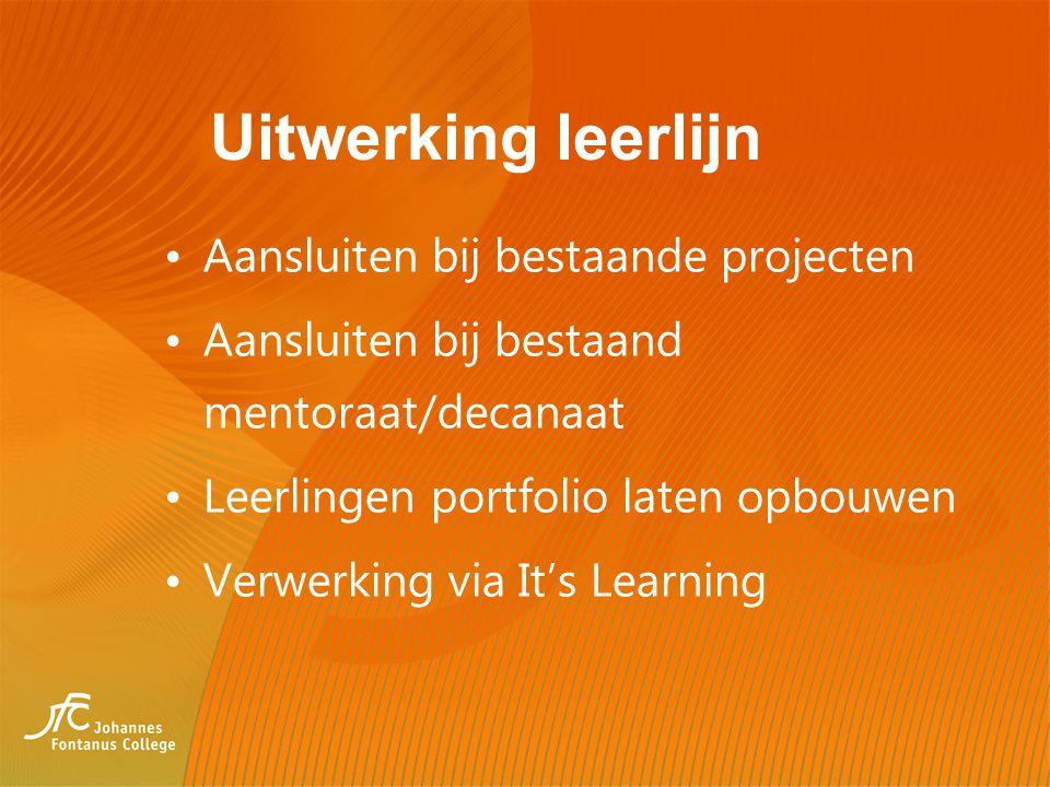 Uitwerking leerlijn Aansluiten bij bestaande projecten Aansluiten bij bestaand mentoraat/decanaat Leerlingen portfolio laten opbouwen Verwerking via I