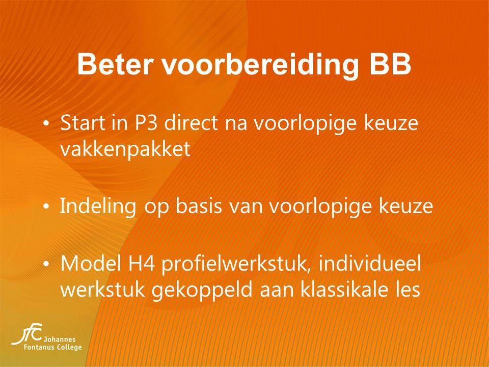 Beter voorbereiding BB Start in P3 direct na voorlopige keuze vakkenpakket Indeling op basis van voorlopige keuze Model H4 profielwerkstuk, individuee