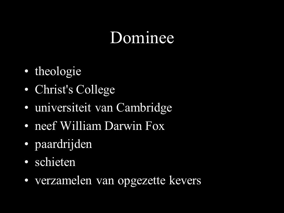 Dominee theologie Christ s College universiteit van Cambridge neef William Darwin Fox paardrijden schieten verzamelen van opgezette kevers