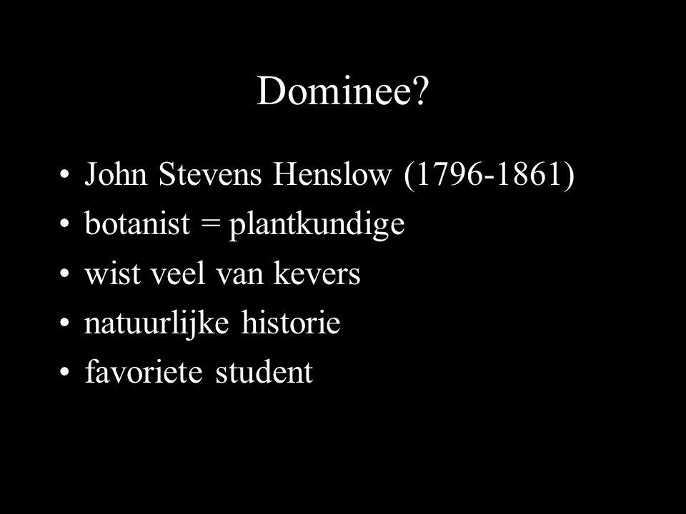 Dominee? John Stevens Henslow (1796-1861) botanist = plantkundige wist veel van kevers natuurlijke historie favoriete student
