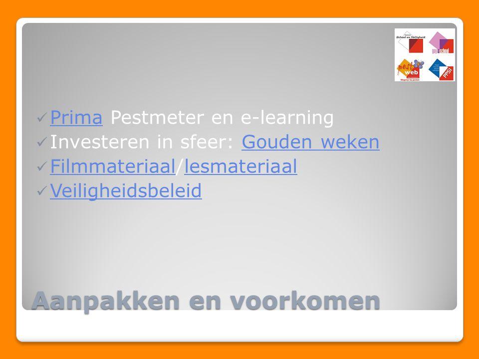 Aanpakken en voorkomen Prima Pestmeter en e-learning Prima Investeren in sfeer: Gouden wekenGouden weken Filmmateriaal/lesmateriaal Filmmateriaallesma