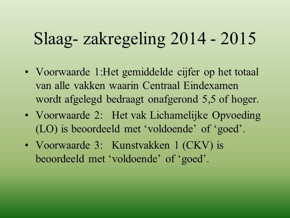 Slaag- zakregeling 2014 - 2015 Voorwaarde 1:Het gemiddelde cijfer op het totaal van alle vakken waarin Centraal Eindexamen wordt afgelegd bedraagt ona