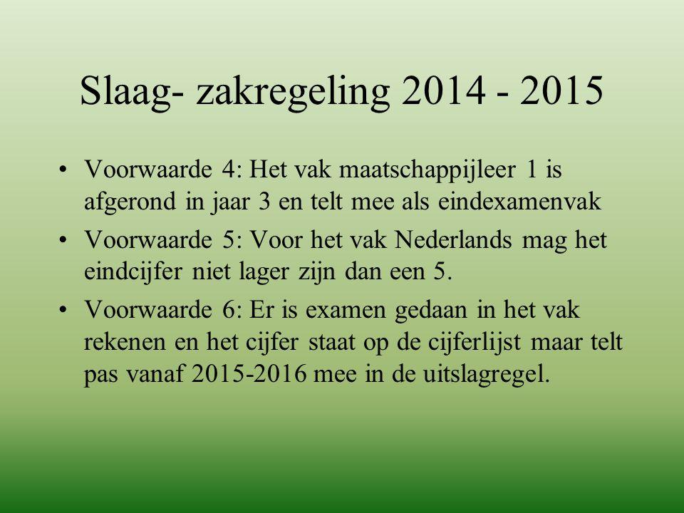 Slaag- zakregeling 2014 - 2015 Voorwaarde 4: Het vak maatschappijleer 1 is afgerond in jaar 3 en telt mee als eindexamenvak Voorwaarde 5: Voor het vak