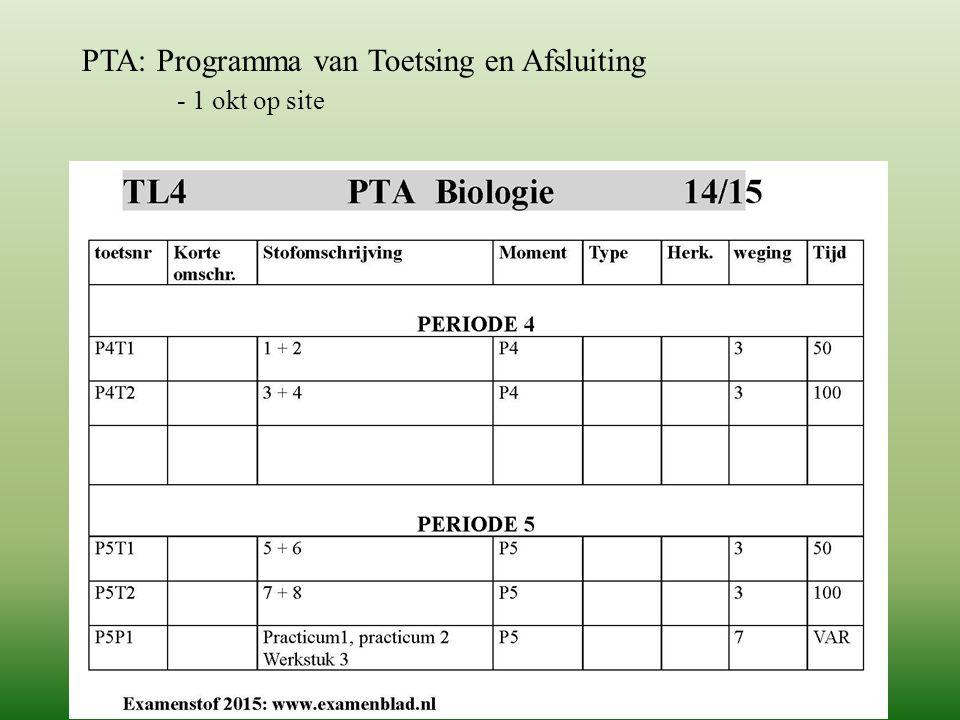 PTA: Programma van Toetsing en Afsluiting - 1 okt op site