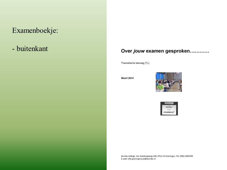 Examenboekje: - buitenkant
