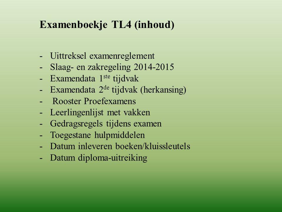 Examenboekje TL4 (inhoud) -Uittreksel examenreglement -Slaag- en zakregeling 2014-2015 -Examendata 1 ste tijdvak -Examendata 2 de tijdvak (herkansing)