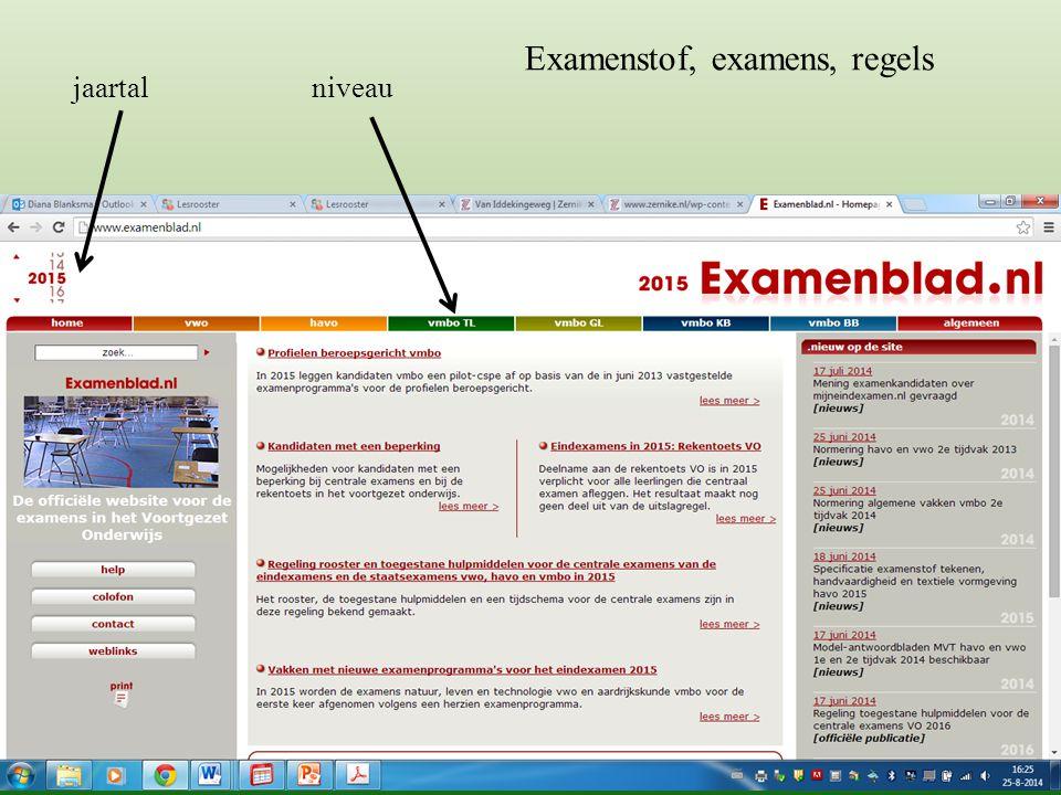 jaartal niveau Examenstof, examens, regels