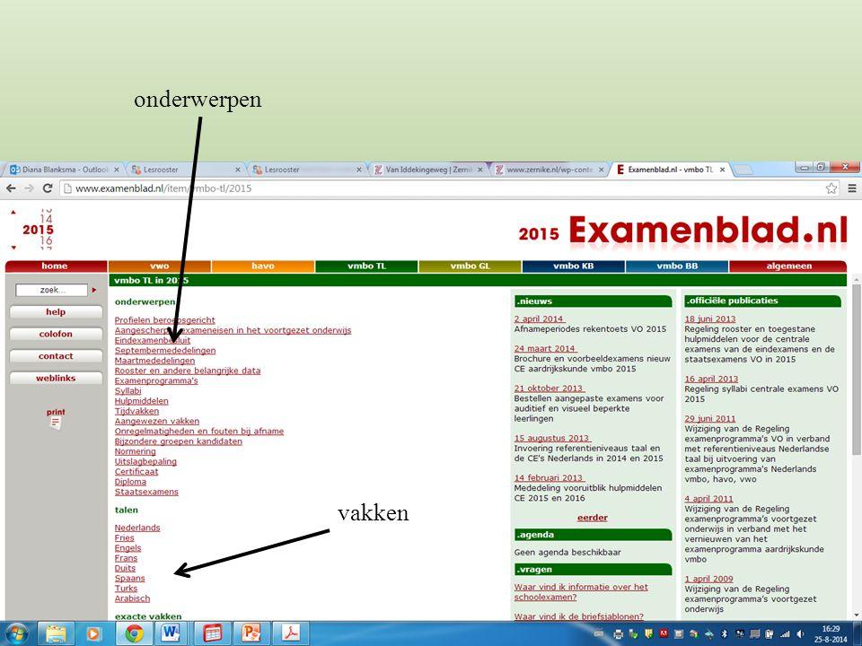 SE = school examen (25% TL3 + 75% TL4) CE = centraal eindexamen (in mei) SE (50%) + CE (50%) = CSE CSE = centraal schriftelijk eindexamen CSE SE CE TL3 TL4