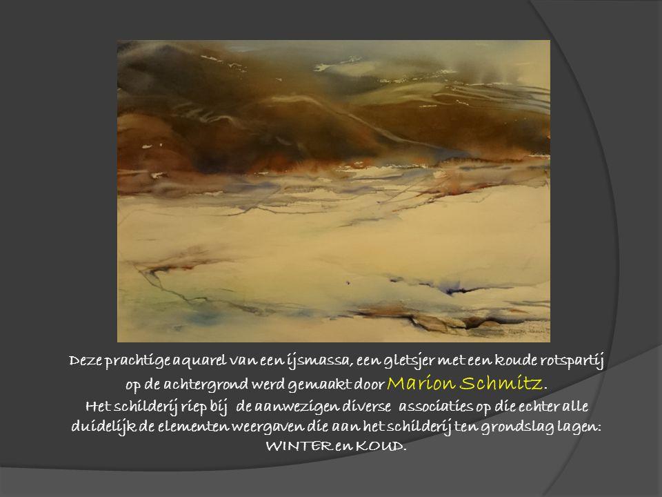 Deze prachtige aquarel van een ijsmassa, een gletsjer met een koude rotspartij op de achtergrond werd gemaakt door Marion Schmitz. Het schilderij riep