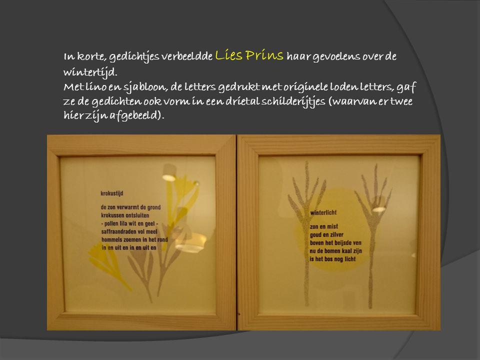 In korte, gedichtjes verbeeldde Lies Prins haar gevoelens over de wintertijd. Met lino en sjabloon, de letters gedrukt met originele loden letters, ga