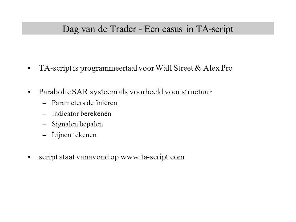 TA-script is programmeertaal voor Wall Street & Alex Pro Parabolic SAR systeem als voorbeeld voor structuur –Parameters definiëren –Indicator berekene