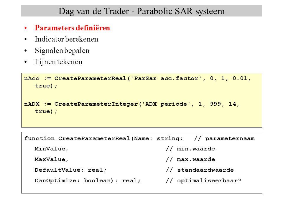 Dag van de Trader - Parabolic SAR systeem Parameters definiëren Indicator berekenen Signalen bepalen Lijnen tekenen sPAR := Parabolic(High, Low, nAcc, nMaxAcc, Tomorrow); sADX := ADX(High, Low, Close, nADX); DMI(High, Low, Close, nDMI, sDIPlus, sDIMinus); procedure DMI(High, Low, Close: TSeries;TSeries Period: integer; var DIPlus, DIMinus: TSeries);TSeries