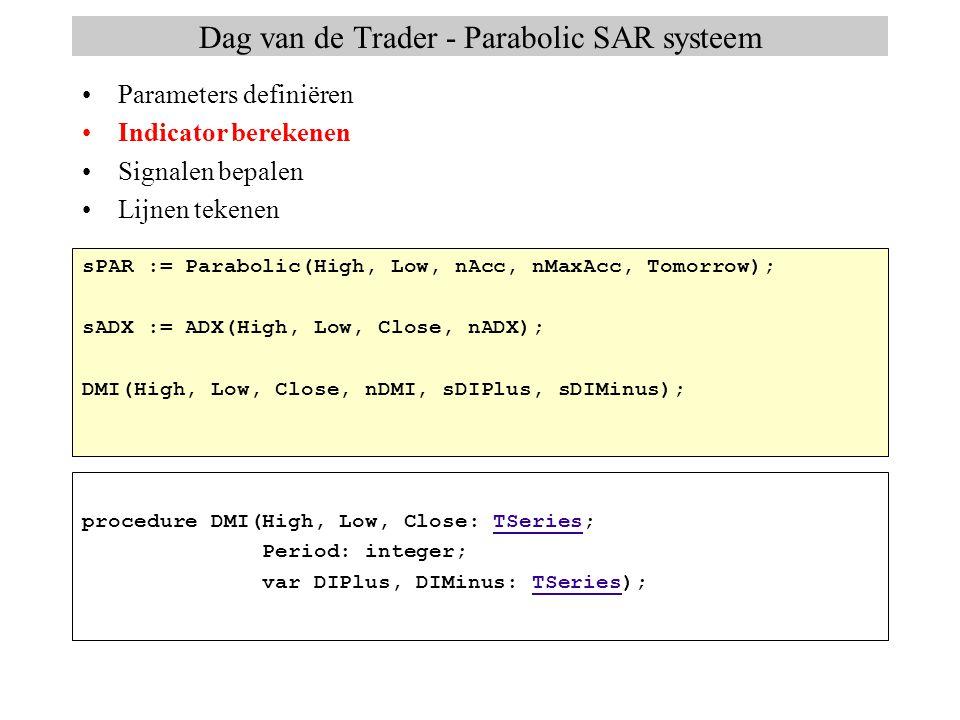 Dag van de Trader - Parabolic SAR systeem Parameters definiëren Indicator berekenen Signalen bepalen Lijnen tekenen sPAR := Parabolic(High, Low, nAcc,