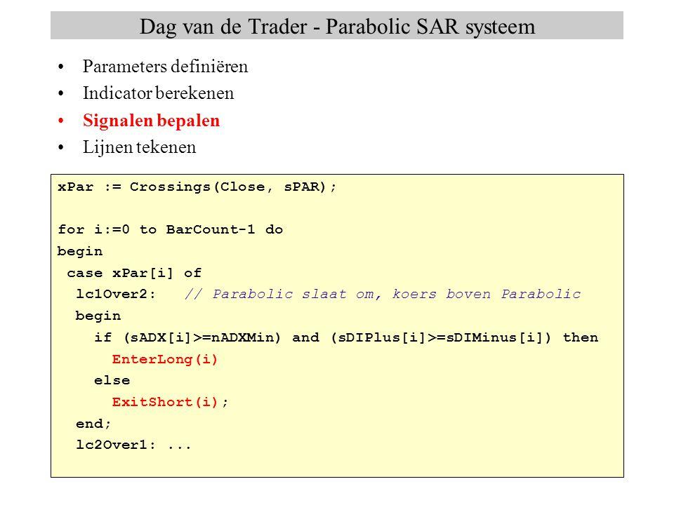 Dag van de Trader - Parabolic SAR systeem with CreateLine(sPAR) do begin Name := ParSar ; Color := clYellow; LineType := ltDot; end; type TIndicatorLine = record Name: string;// naam van de lijn Color: TColor;// kleurTColor LineType: TLineType;// lijntype (lijn, candlestick..TLineType Width: integer;// lijndikte...