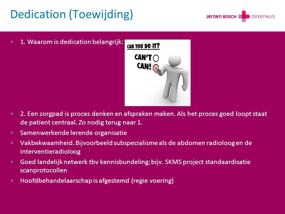 1.Waarom is dedication belangrijk: 2. Een zorgpad is proces denken en afspraken maken.