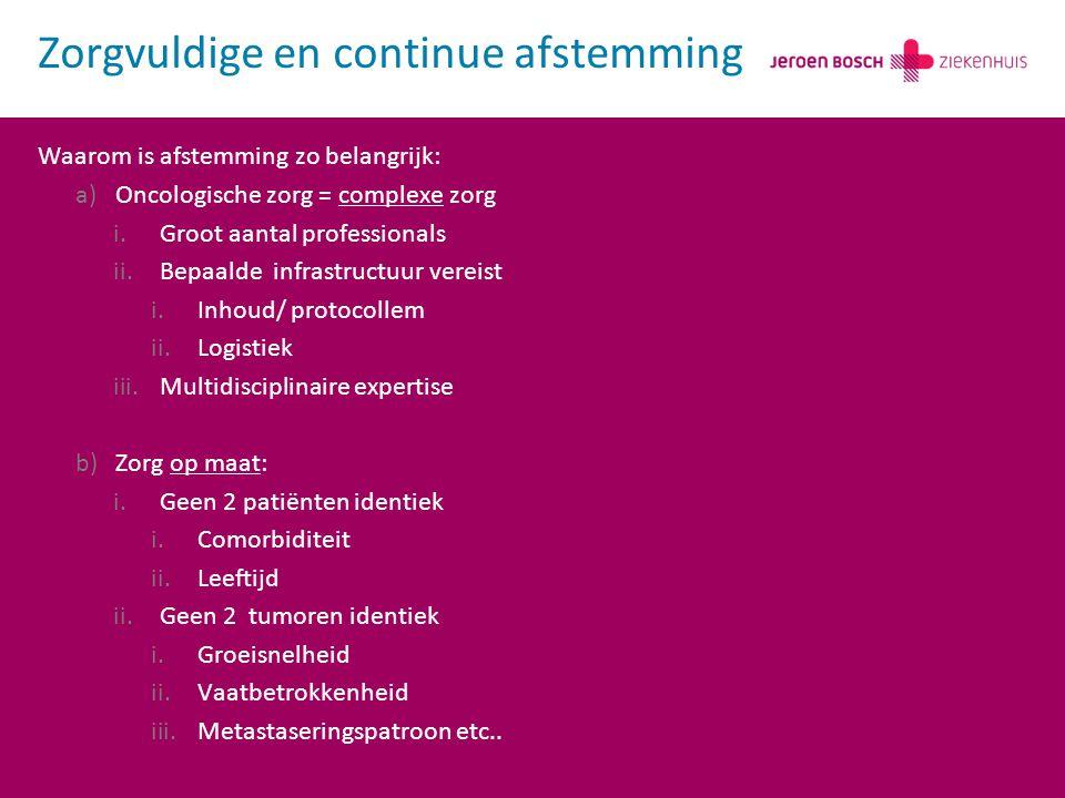 Waarom is afstemming zo belangrijk: a)Oncologische zorg = complexe zorg i.Groot aantal professionals ii.Bepaalde infrastructuur vereist i.Inhoud/ protocollem ii.Logistiek iii.Multidisciplinaire expertise b)Zorg op maat: i.Geen 2 patiënten identiek i.Comorbiditeit ii.Leeftijd ii.Geen 2 tumoren identiek i.Groeisnelheid ii.Vaatbetrokkenheid iii.Metastaseringspatroon etc..